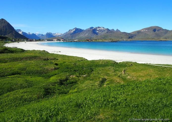 Lofoten Islands white beach, Norway.