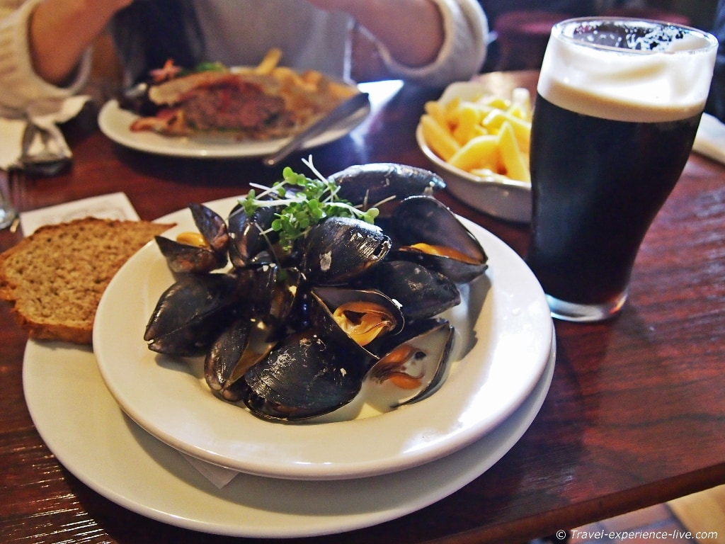 Mussels in Guinness in Doolin, Ireland.