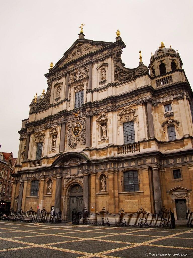 The impressive facade of the Carolus Borromeus church in Antwerp, Belgium.