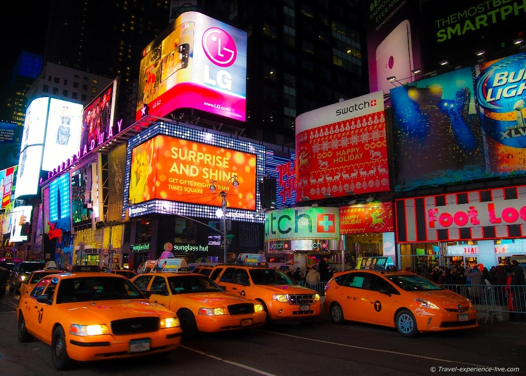 Taxi cabs on Times Square in New York City.