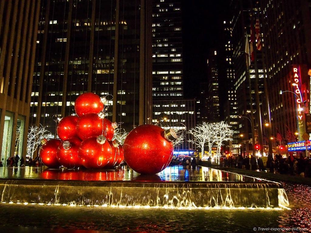 Big Christmas ornaments near Rockefeller Center.