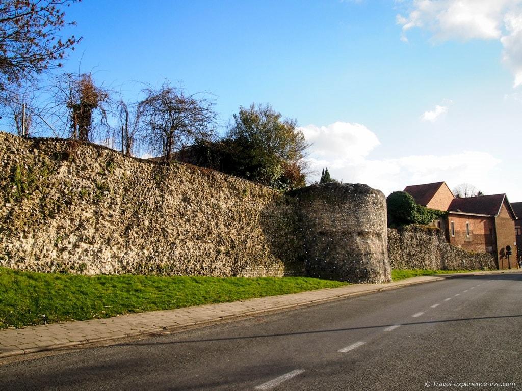 Roman city walls in Tongeren, Belgium