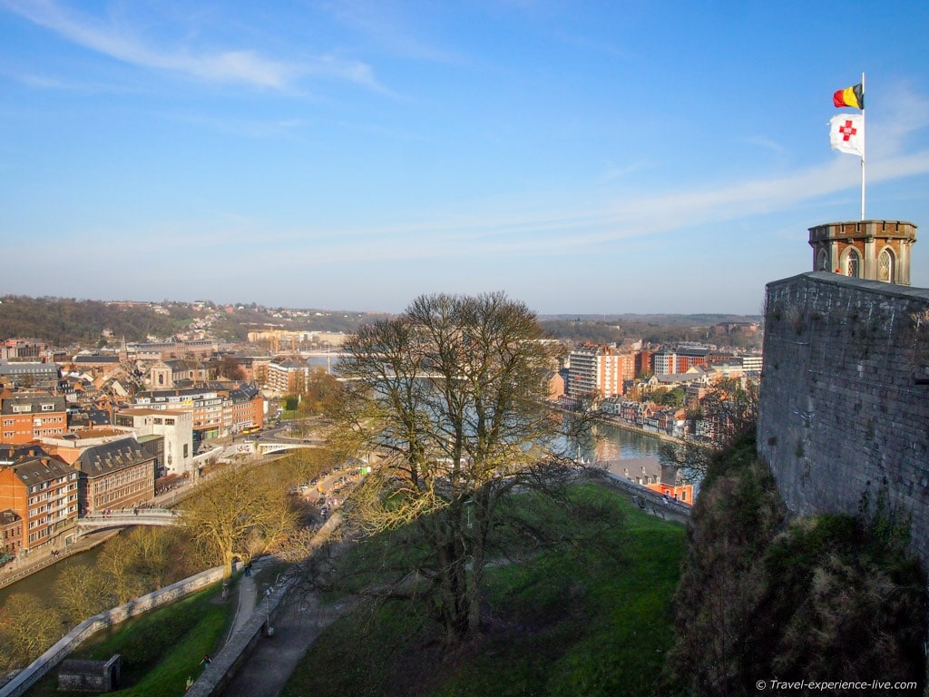 Sambre and Meuse Rivers in Namur, Belgium, seen from the Citadel