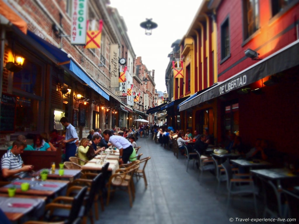The bars and restaurants in Muntstraat, Leuven