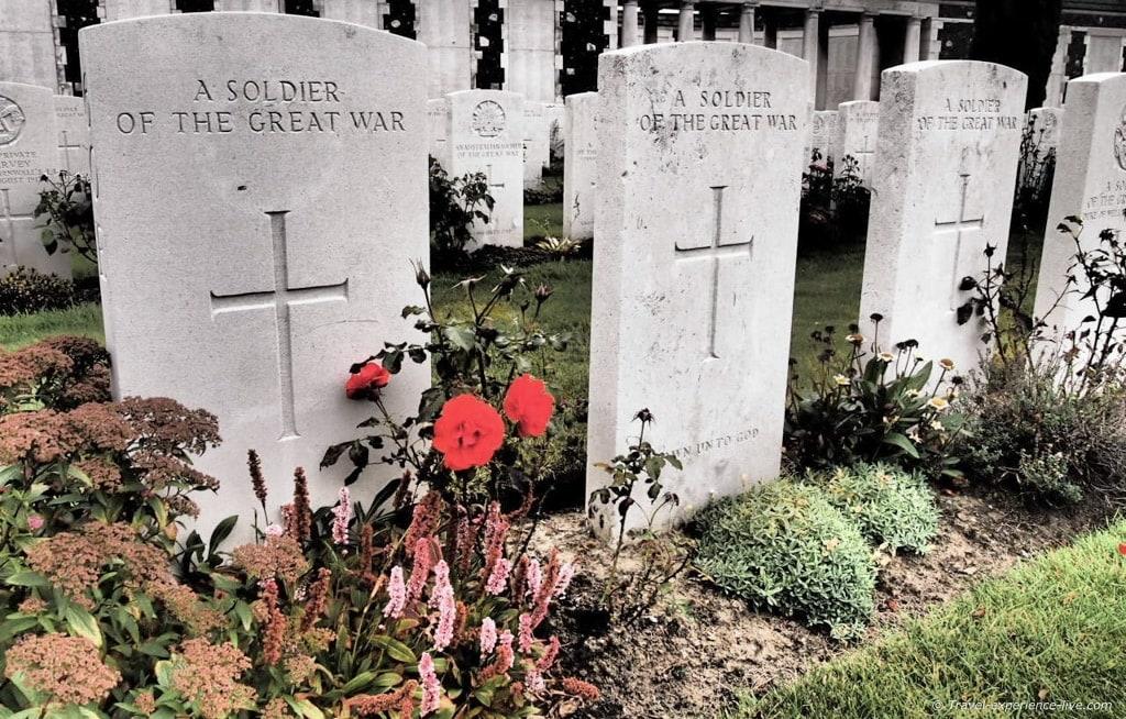 Graves at Tyne Cot War Cemetary, Belgium