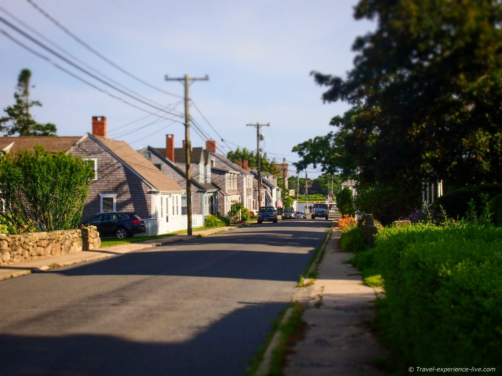 Street and houses in Westport, MA.