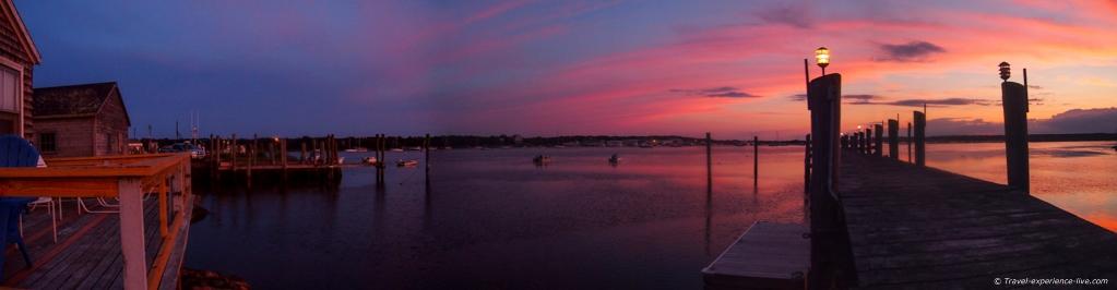 Sunset in Westport Point harbor.