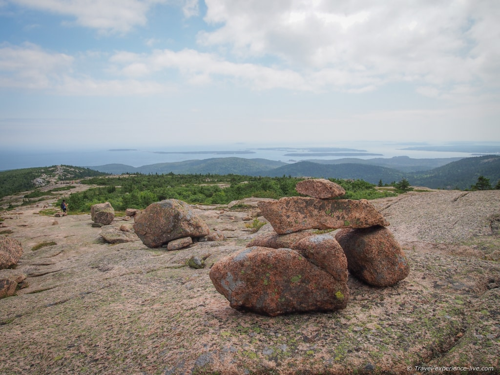Cairns on the South Ridge Trail, Cadillac Mountain.