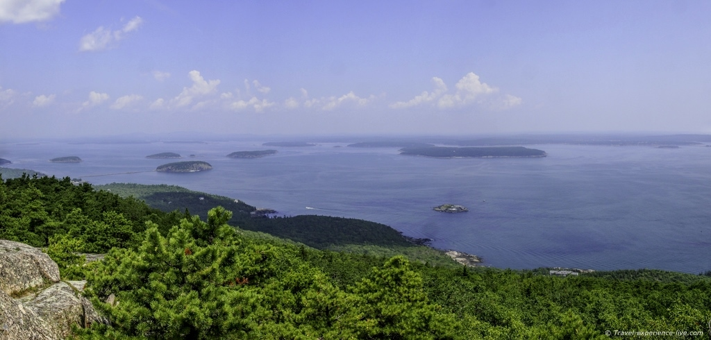 View of Frenchman Bay from the summit of Champlain Mountain, Maine.