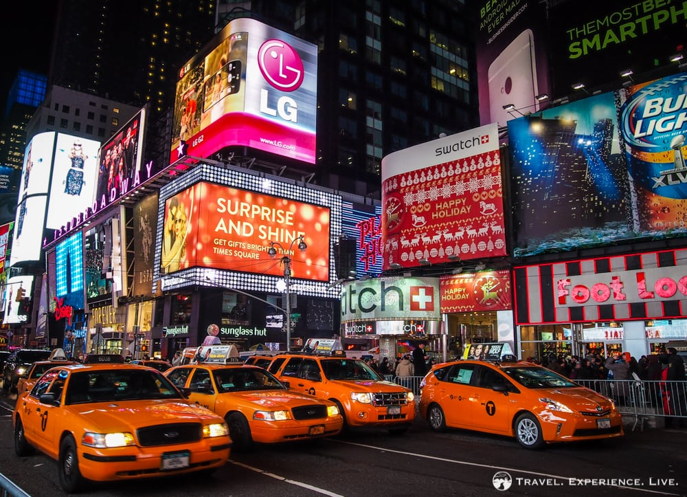 New York City taxis at Times Square