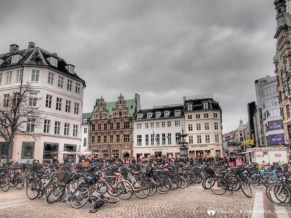 Hundreds of bicycles in Copenhagen, Denmark