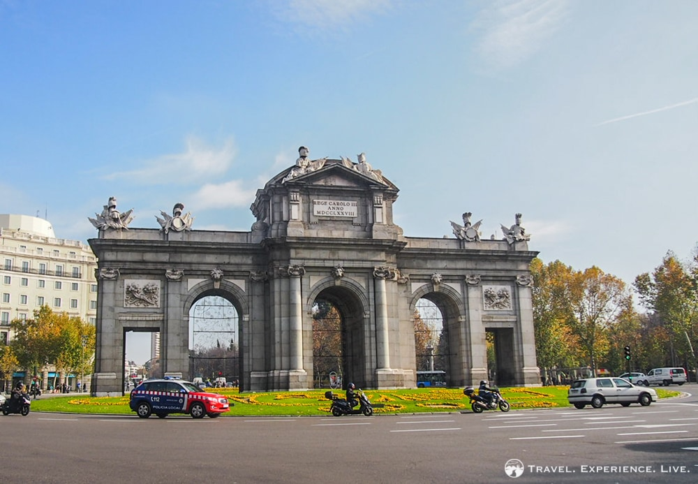 The Alcala Gate stands at the Plaza de la Independencia in Madrid