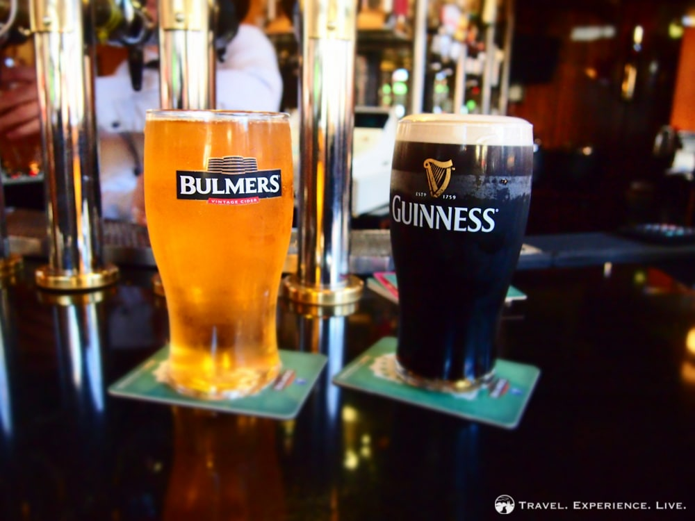 Bulmers and Guinness in a pub in Dublin