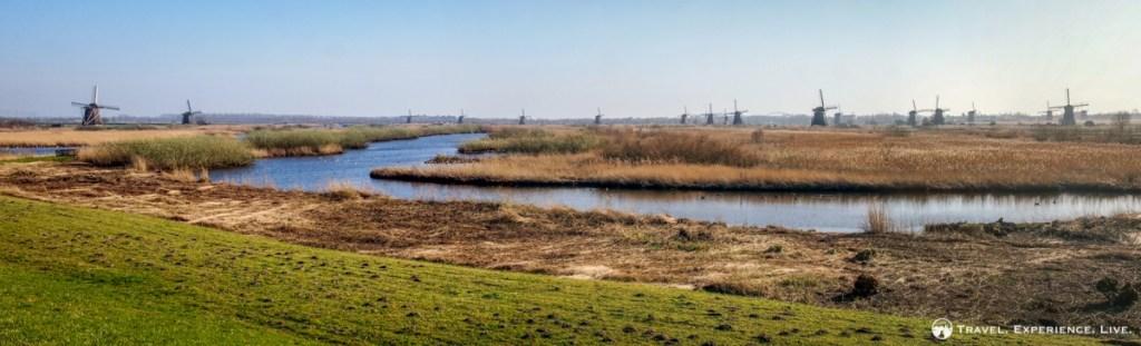 Kinderdijk windmills in one travel panorama