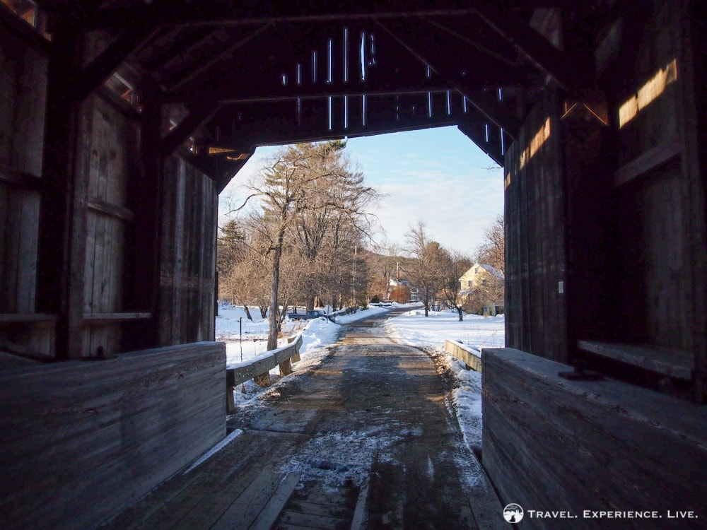 View from inside a covered bridge, Vermont