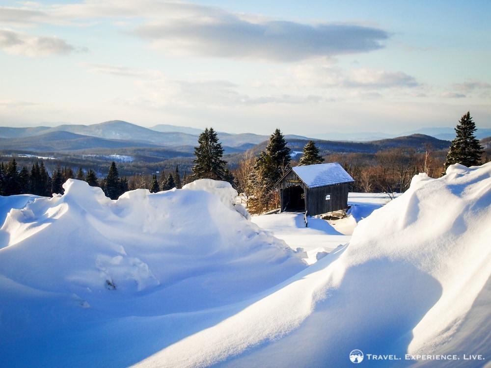 Foster Covered Bridge, typical winter in Vermont scene