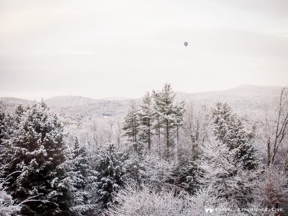A winter balloon ride over the Vermont mountains