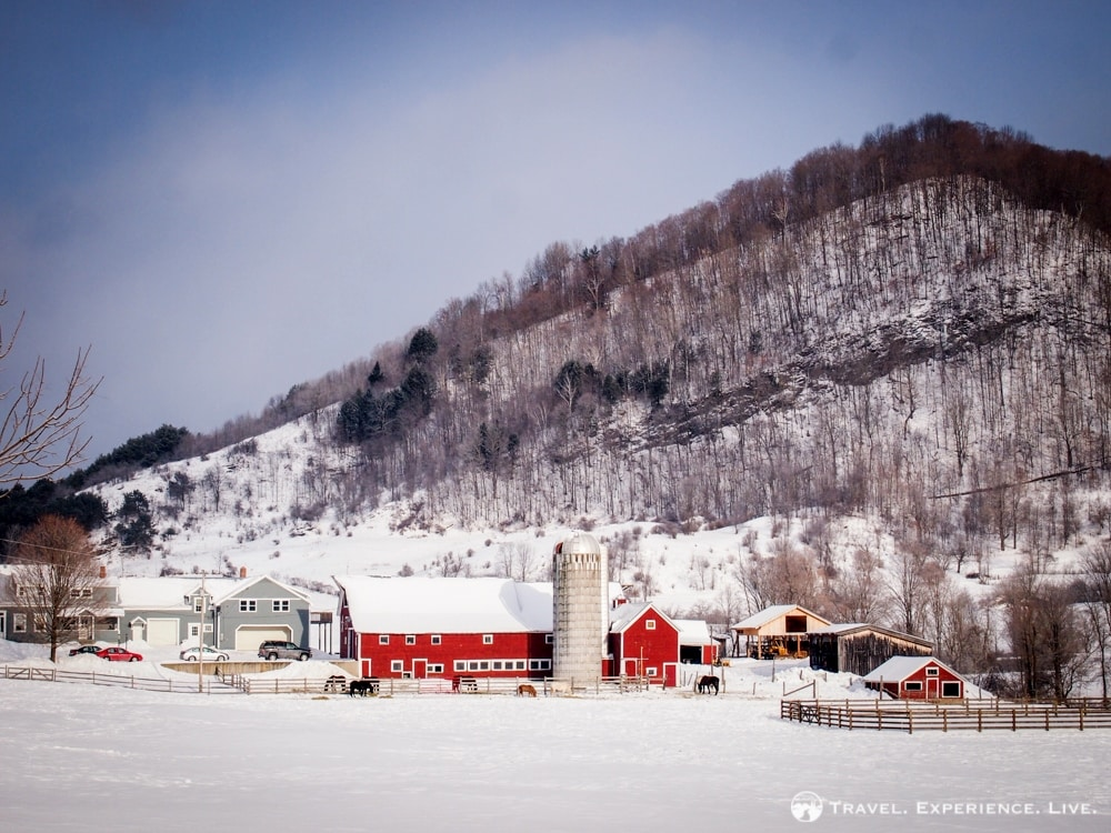 Vermont farmstead in the snow