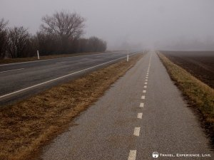 Dull and misty bike path in Denmark