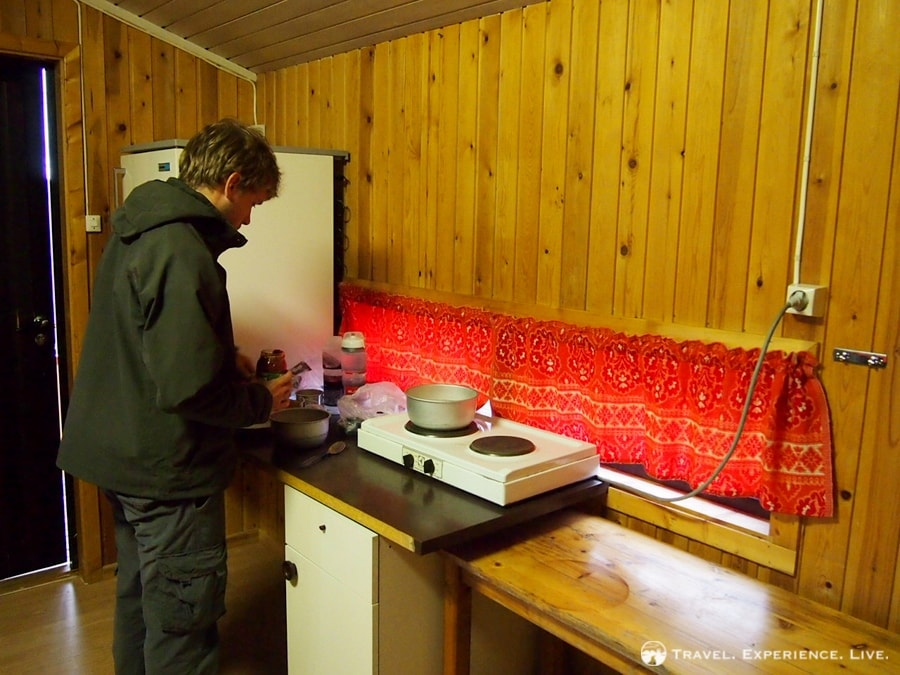 Cooking a simple dinner in the cabin