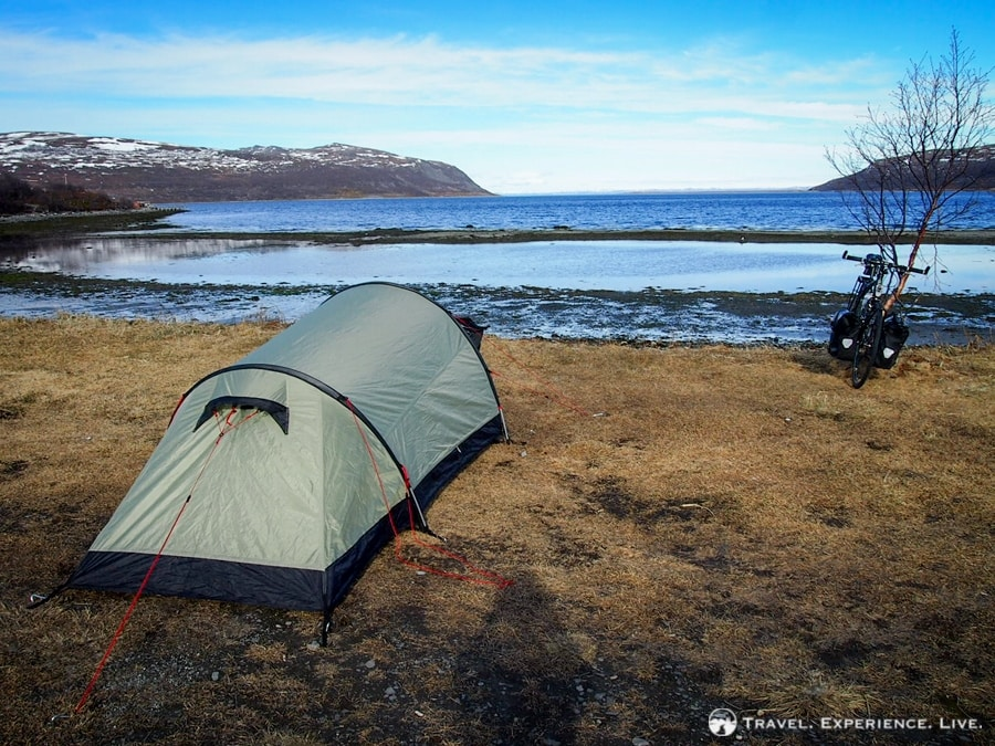 Camping on the shore of the Porsangerfjord, Norway