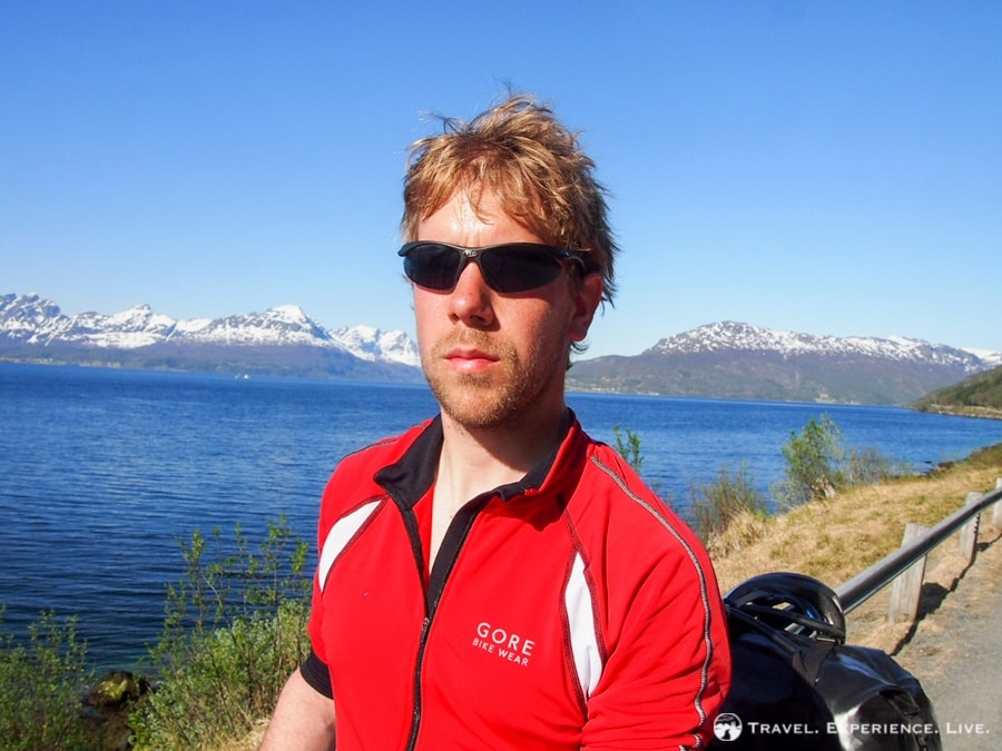 Sweaty after a day of cycling underneath the Arctic sun