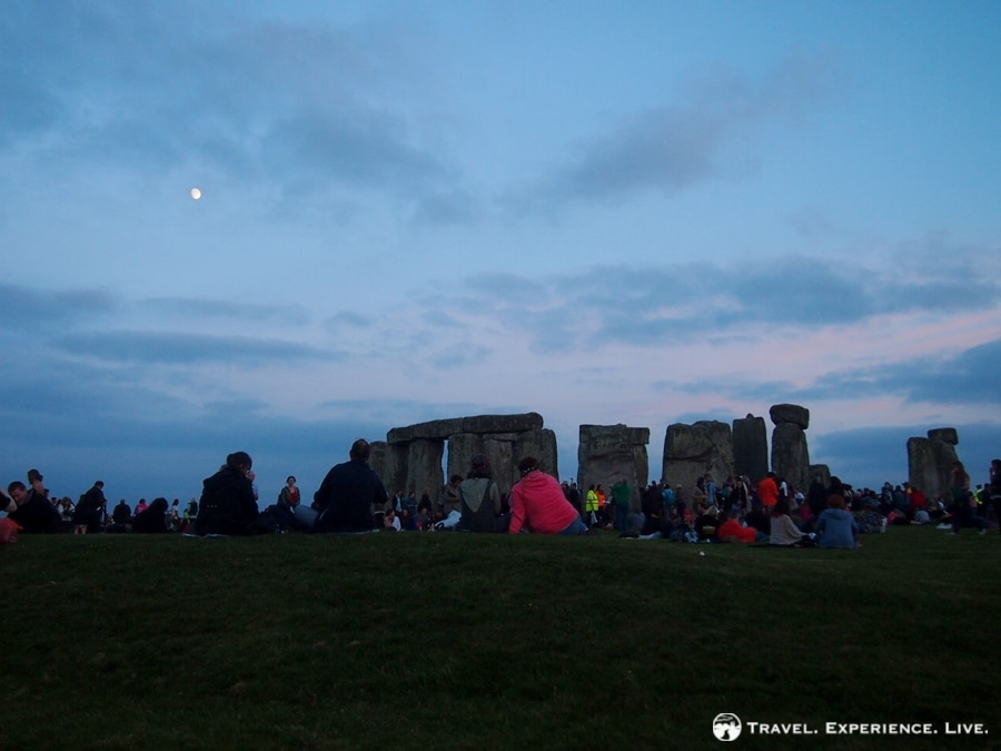 Moon shining on Stonehenge, England
