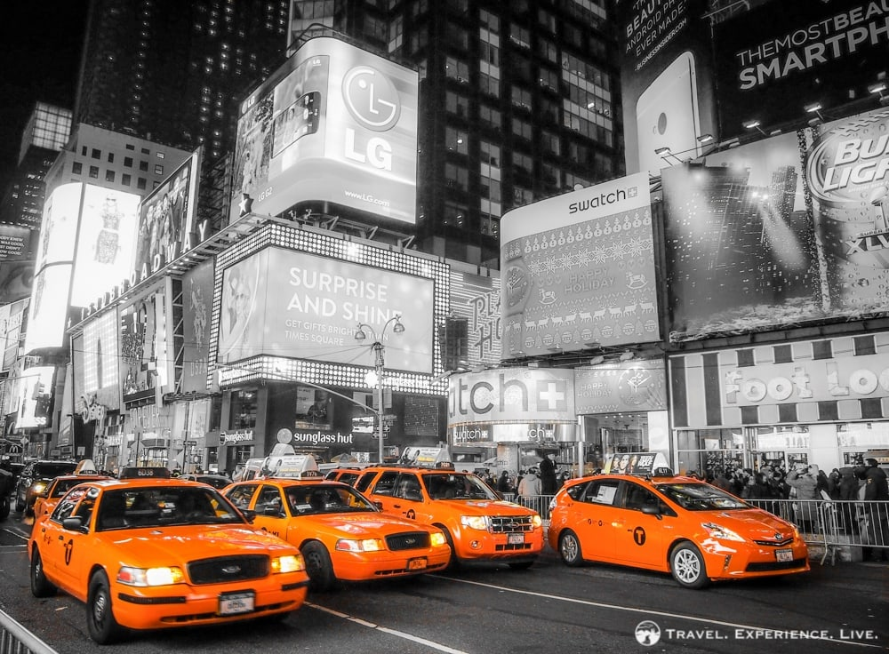 Four taxis on Times Square, Manhattan, New York City