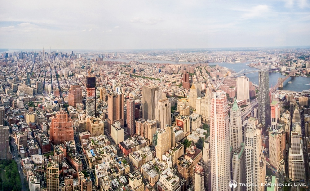 Panorama of New York City seen from the top of One World Trade Center