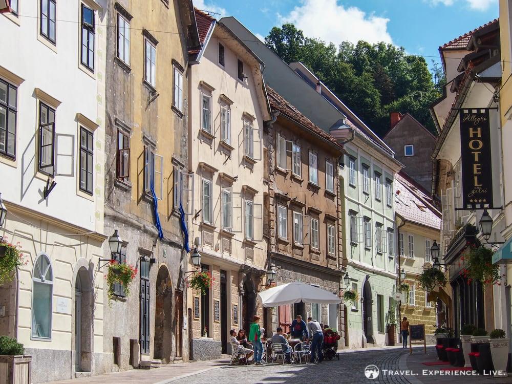 Calm street in Ljubljana, Slovenia