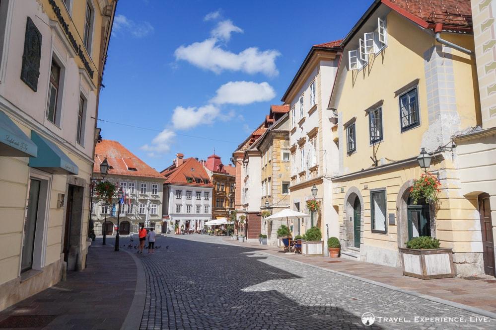 Cobbled pedestrian street in Ljubljana, Slovenia
