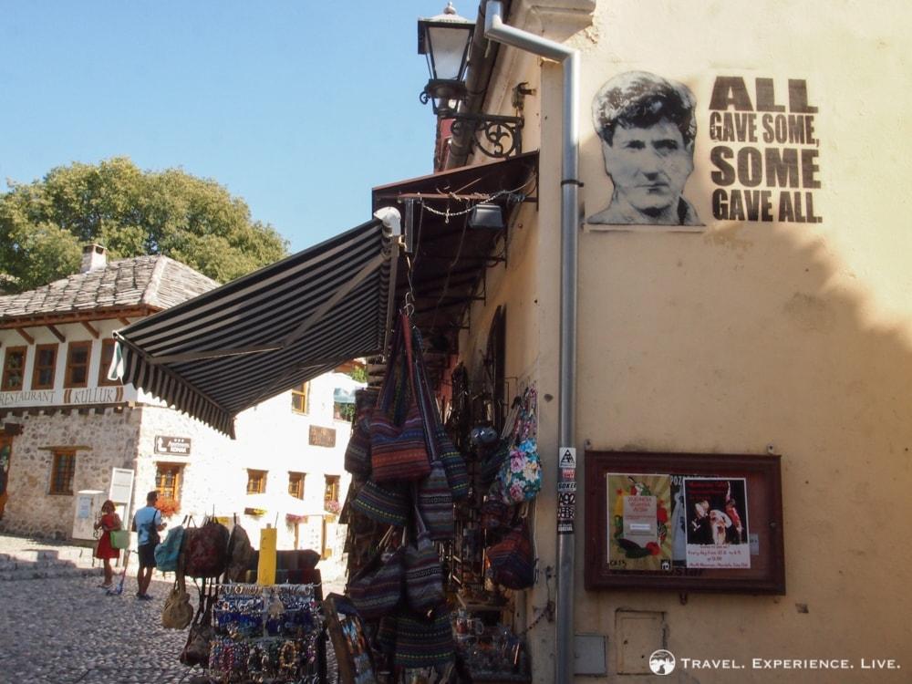 Mural reminding of the Balkan War, Photos of Mostar