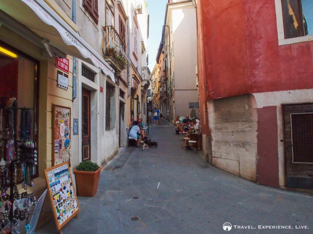 Narrow street in historic Piran