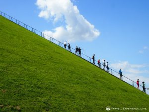 People walking up and down the Lion's Mound, Waterloo
