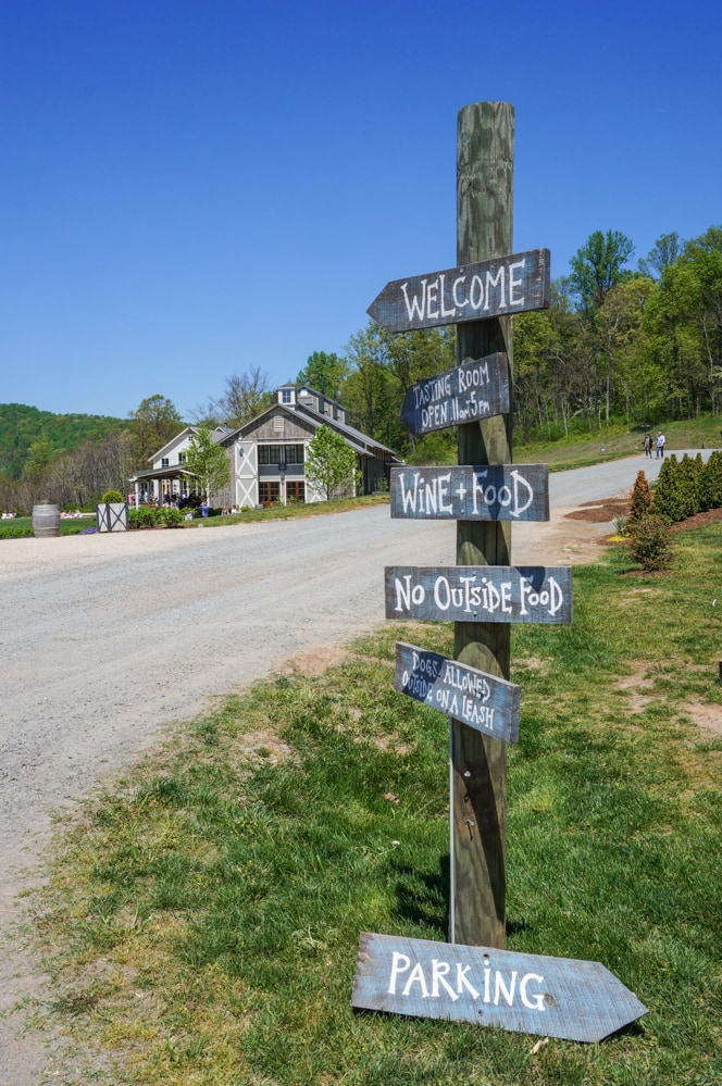 Signs at Pippin Hill Farm and Vineyards