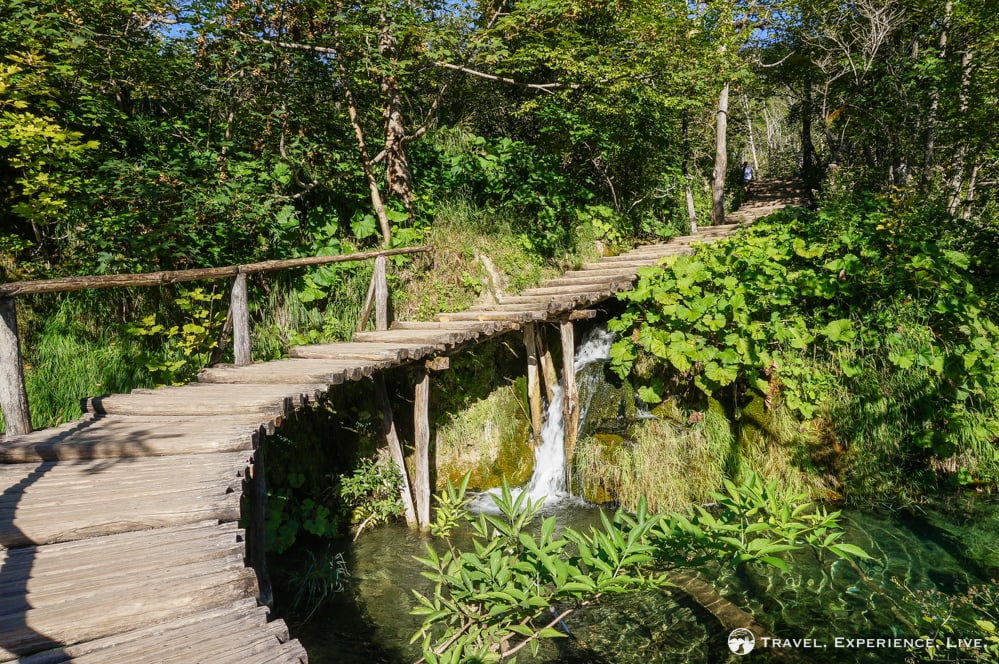 Waterfall and boardwalk, Plitvice Lakes