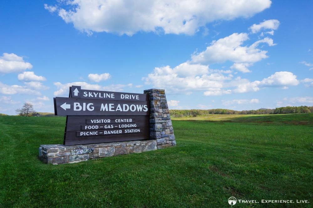 Big Meadows sign, Skyline Drive