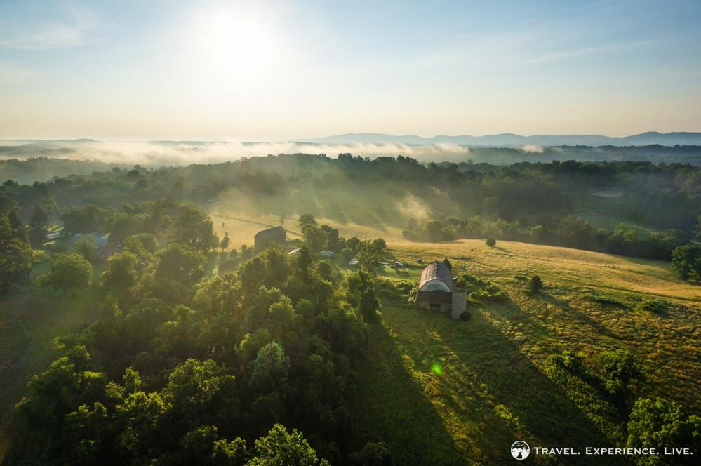 Rural Virginia seen from a hot air balloon