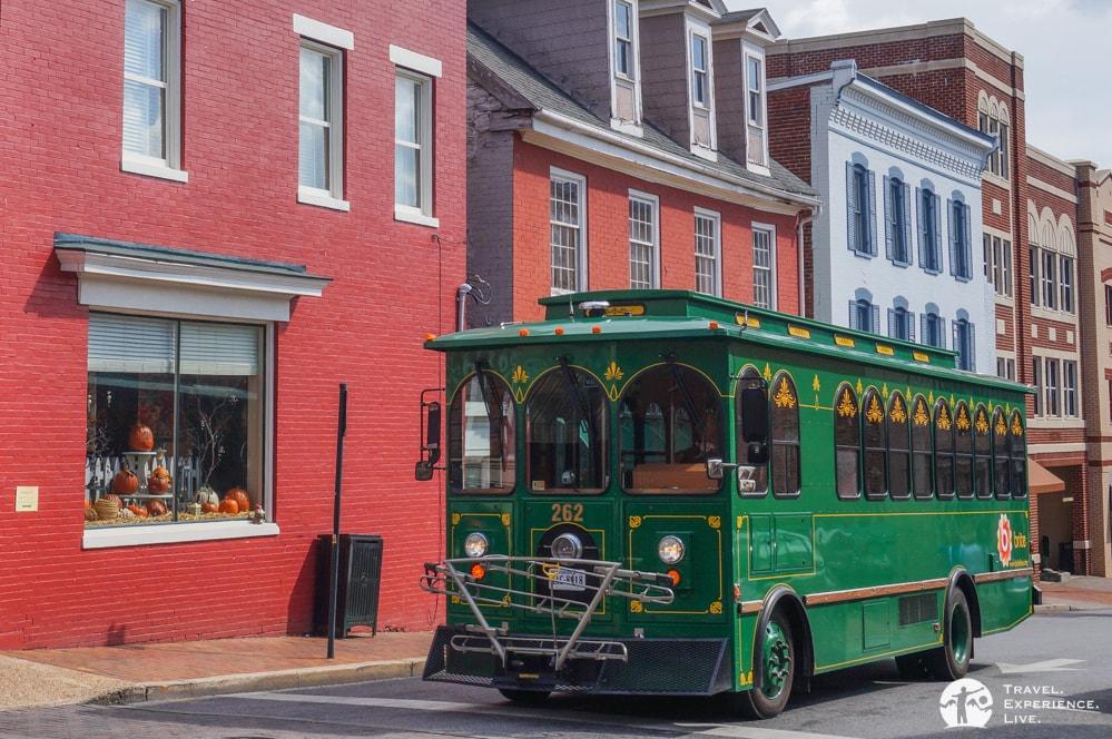 Green Trolley in Staunton, Virginia