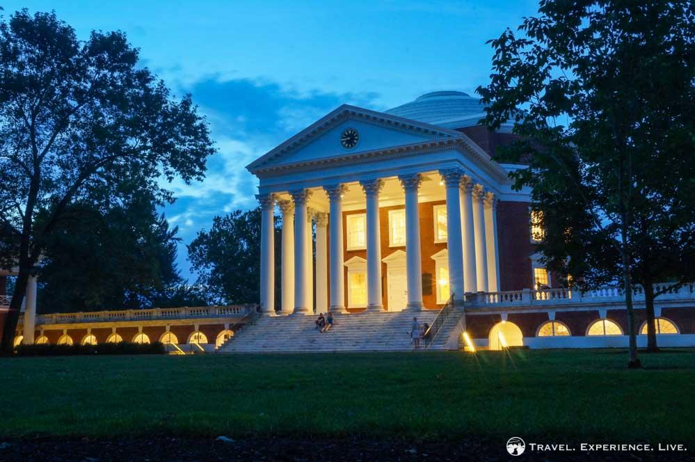 The Rotunda at UVA at night