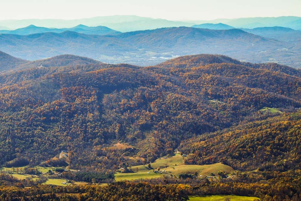 Blue Ridge Mountains seen from Sharp Top