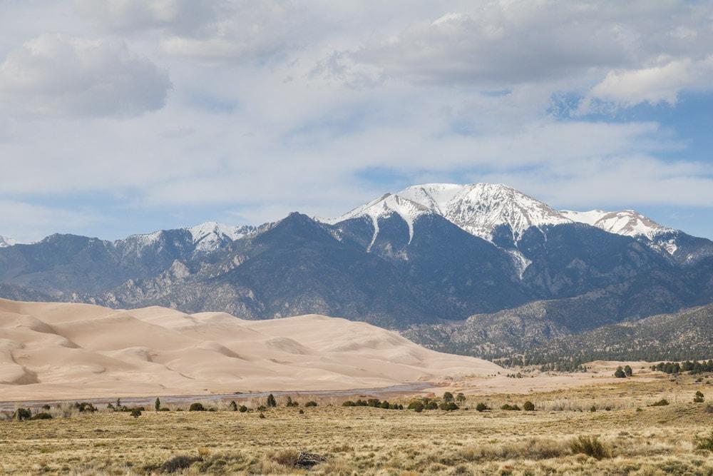Sand dunes and Sangre de Cristo Mountains, Great Sand Dunes National Park, Colorado