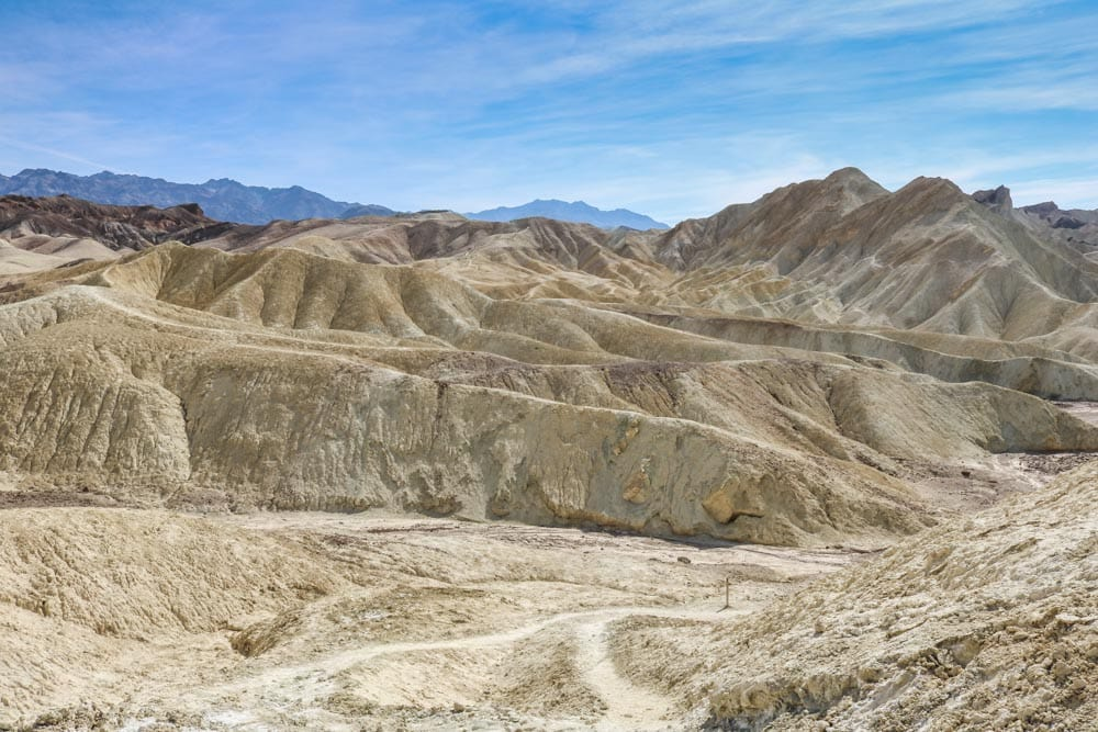 Hiking trail in the badlands, Death Valley National Park