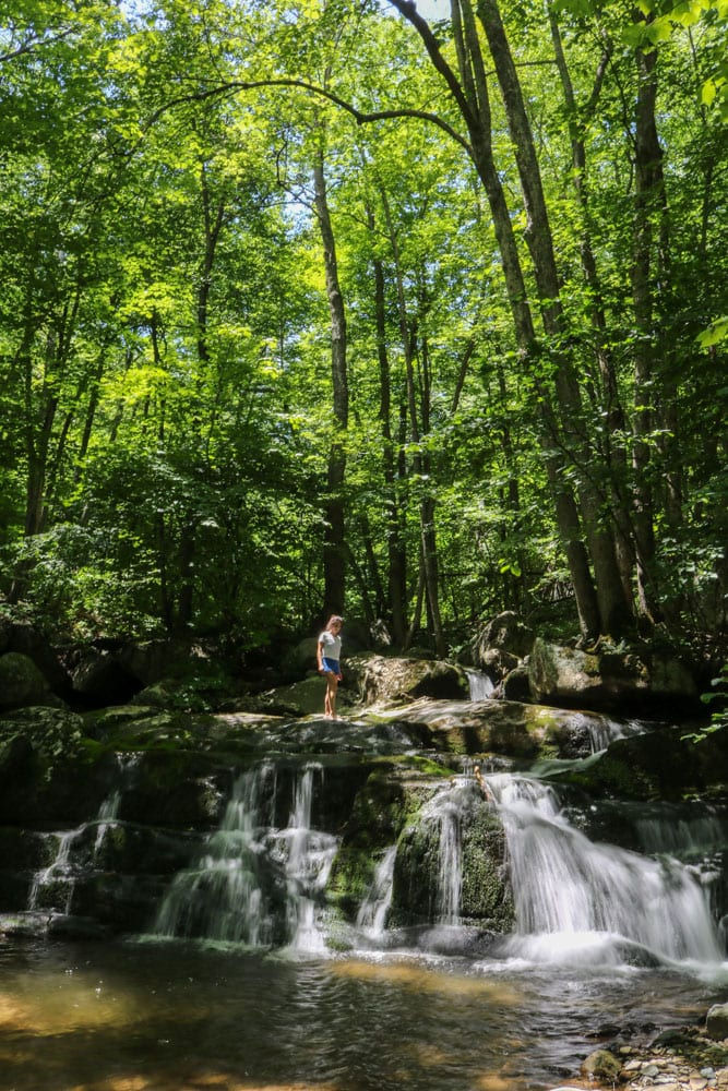 Cascades in Hogcamp Branch hiker, Shenandoah National Park
