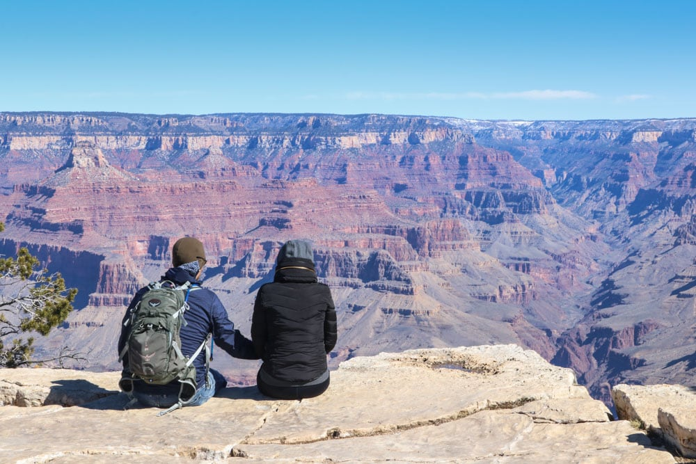 Couple holding hands, Grand Canyon National Park, Arizona