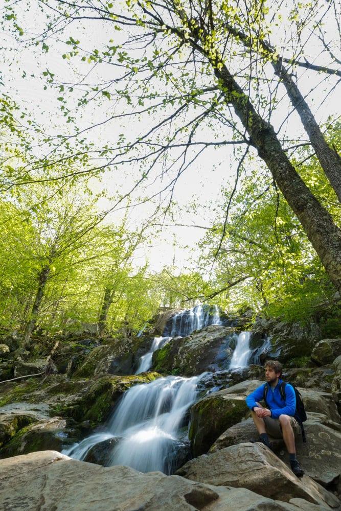Hiker at Dark Hollow Falls, Shenandoah National Park, Virginia