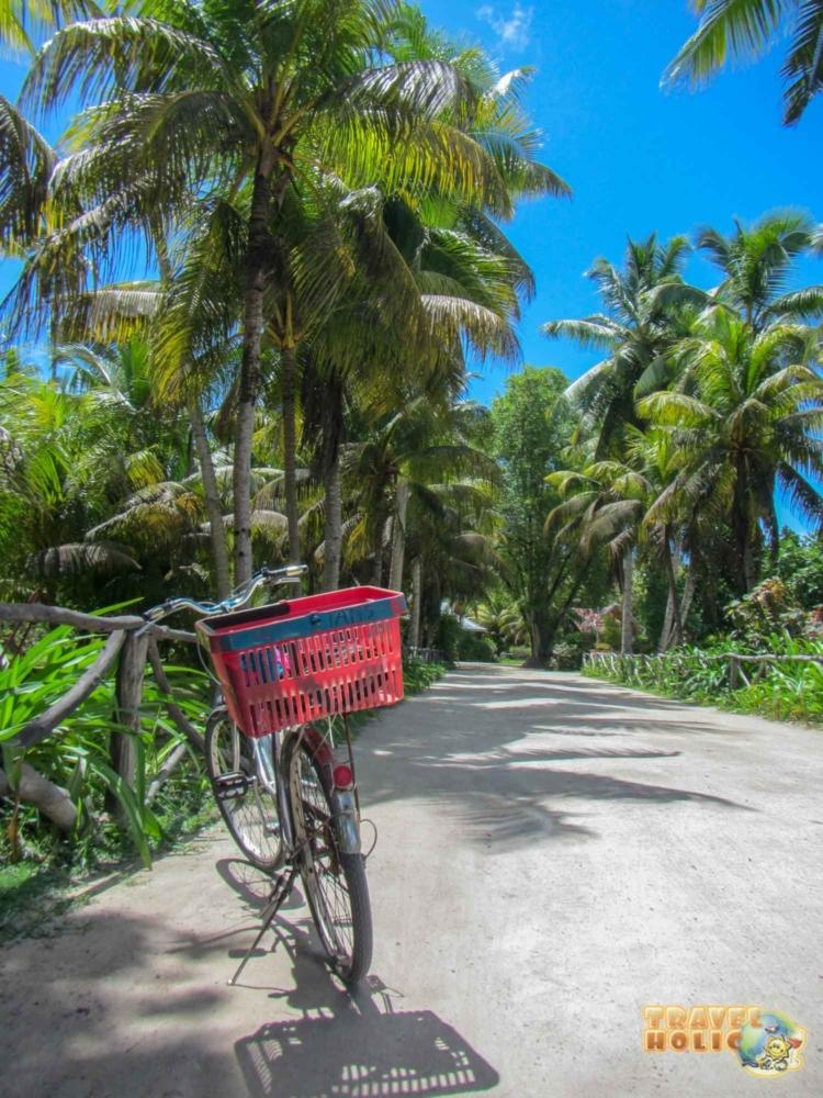 Chemin de terre et vélo à la Digue, Seychelles