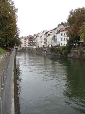Houses in Ljubljana with river Ljubljanica