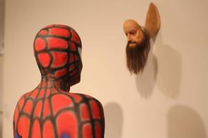 Spriderman meets a monster at the Museum of Contemporary Art