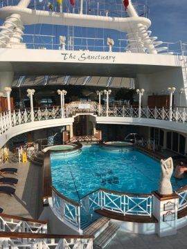 At the Sanctuary Pool on a Repositioning Cruise